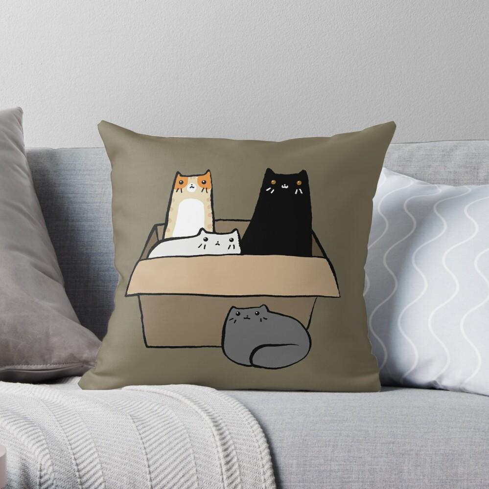 Gatos en una caja Cojín