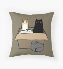 Cats in a Box Throw Pillow