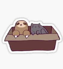 Sloth and Cat in a Box Sticker