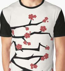 Chinese 'Ai' (Love) Calligraphy With Red Cherry Blossoms On Black Branches | Japanese Sakura Kanji Graphic T-Shirt