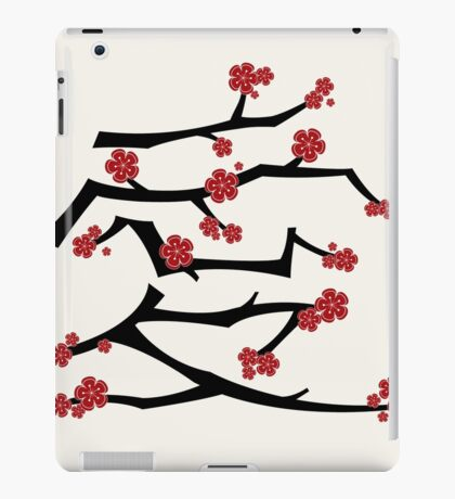 Chinese 'Ai' (Love) Calligraphy With Red Cherry Blossoms On Black Branches | Japanese Sakura Kanji iPad Case/Skin