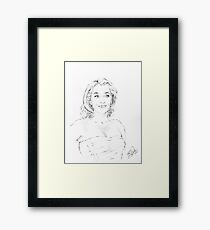 Gillian Anderson Portrait Sketch Framed Print