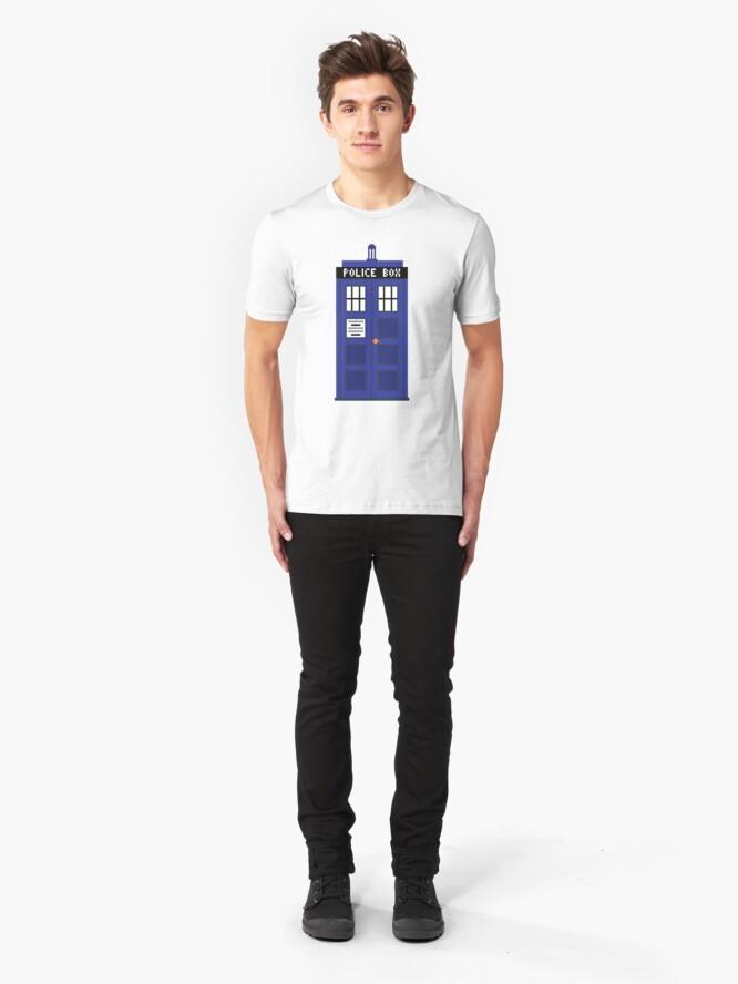 Alternate view of 8-Bit TARDIS Slim Fit T-Shirt
