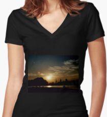 Summer Sunset Women's Fitted V-Neck T-Shirt