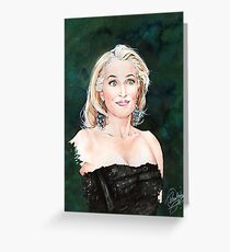 Gillian Anderson watercolor Portrait Greeting Card