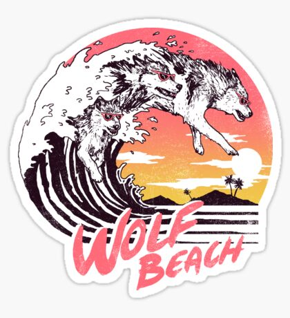 Wolf Beach Sticker