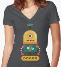 Quirky Retro Wind-up Robot Toy Women's Fitted V-Neck T-Shirt