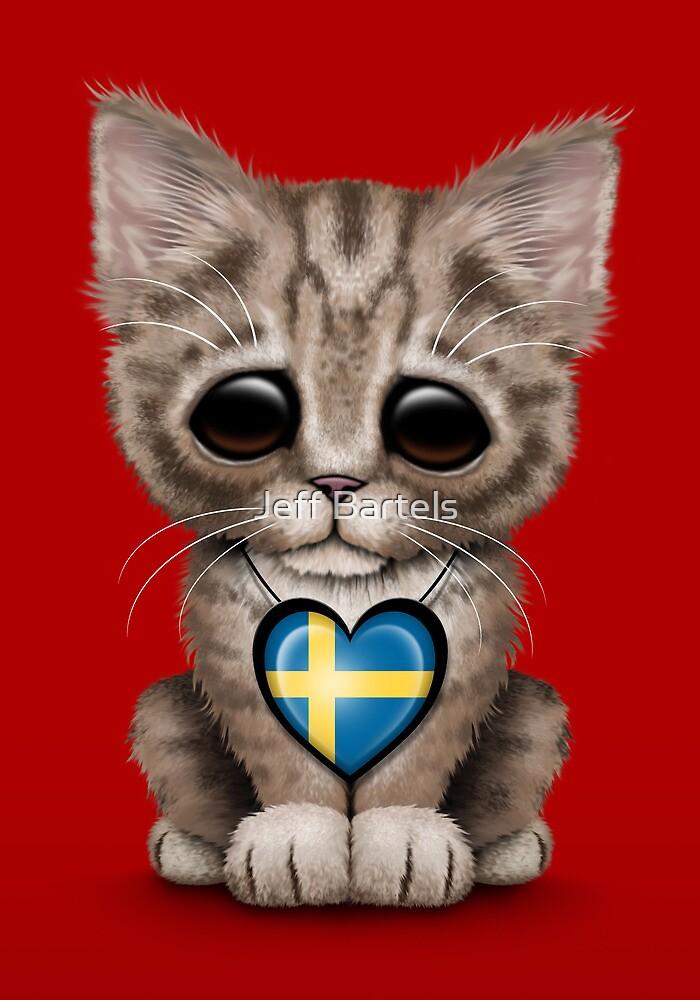 cute kitten cat with swedish flag heart by jeff bartels redbubble
