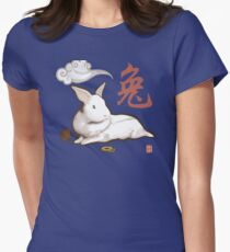 Lionhead Rabbit Sumi-E Womens Fitted T-Shirt