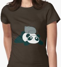 Panda and Gray Cat Womens Fitted T-Shirt