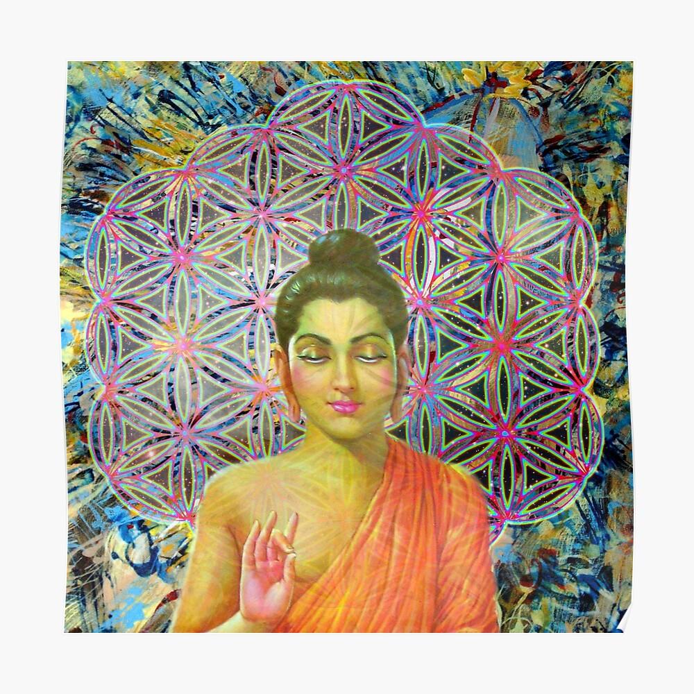 Heilige Geometrie Buddha Poster