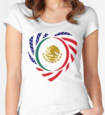 Mexican American Multinational Patriot Flag Series 2.0 Women's Fitted Scoop T-Shirt