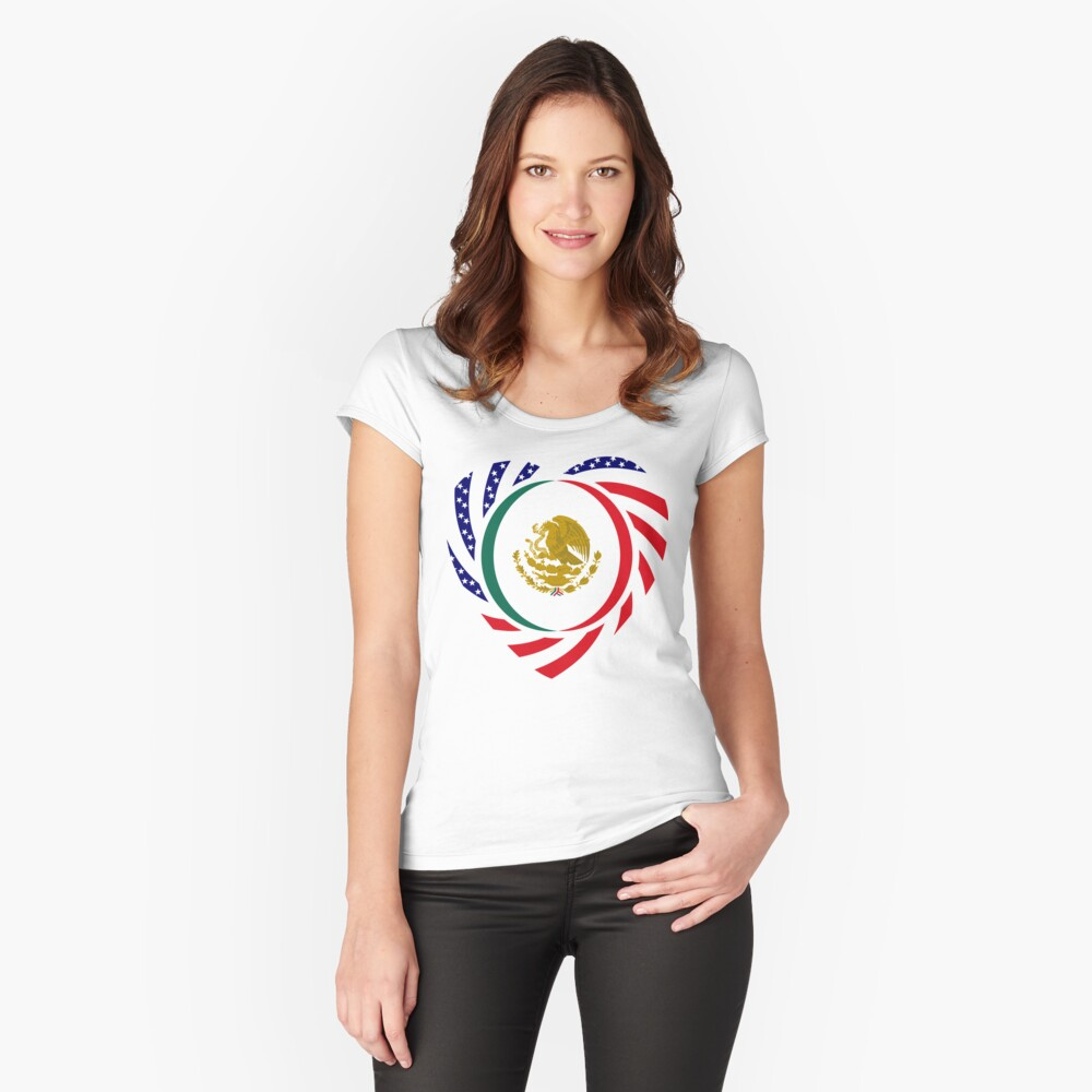 Mexican American Multinational Patriot Flag Series (Heart) Fitted Scoop T-Shirt