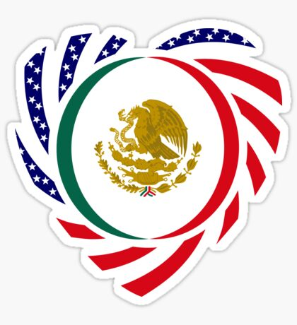 Mexican American Multinational Patriot Flag Series (Heart) Glossy Sticker