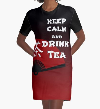 Keep Calm and Drink Tea - dark asia edition T-Shirt Kleid