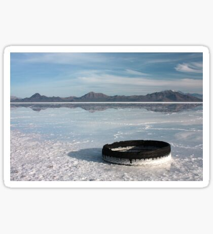 Flooded Salt Flats with Tire Sticker