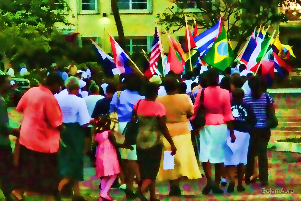 Catholics in a Parking Lot with Flags by GolemAura
