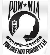 POW MIA Black Text Poster