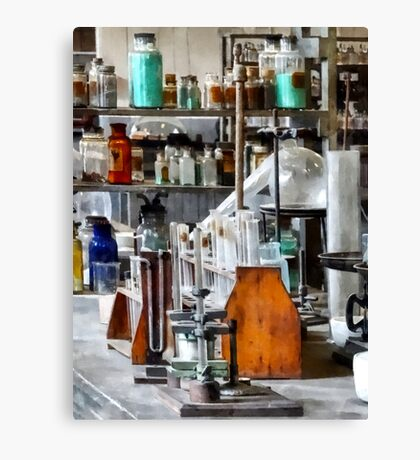 Chem Lab With Test Tubes and Retort Canvas Print