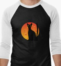 Black Cat & Moon Men's Baseball ¾ T-Shirt