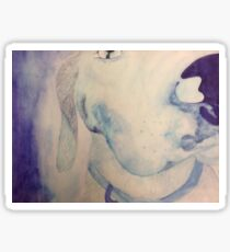 blue dog watercolor Sticker