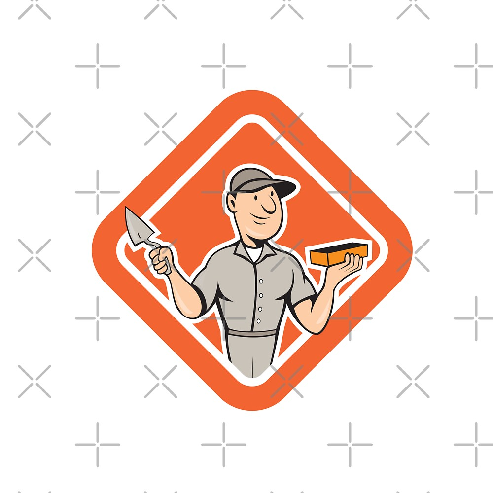 Bricklayer Mason Plasterer Standing Shield Cartoon by patrimonio