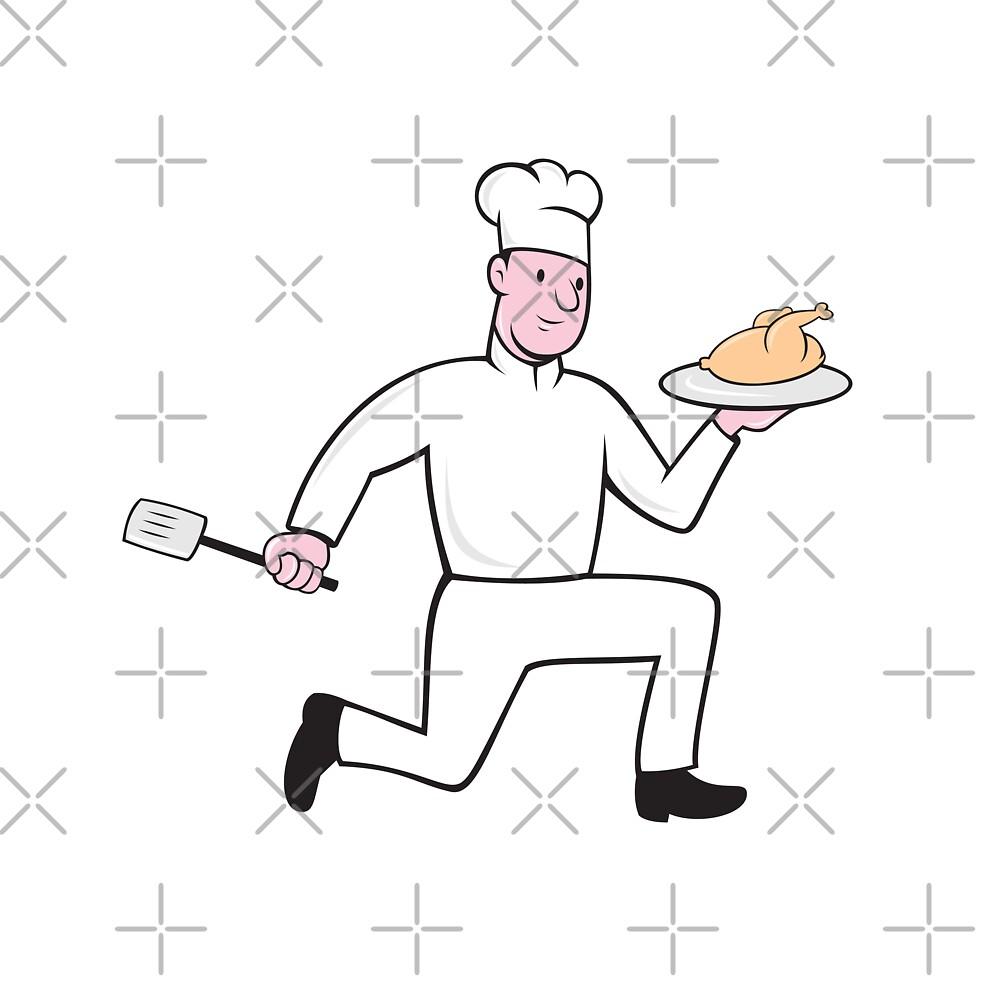 Chef With Chicken Spatula Running Cartoon by patrimonio