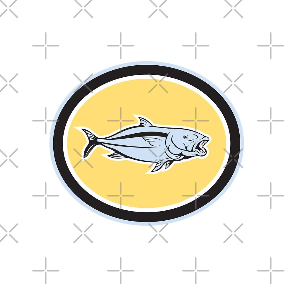 Kingfish Cartoon Oval by patrimonio