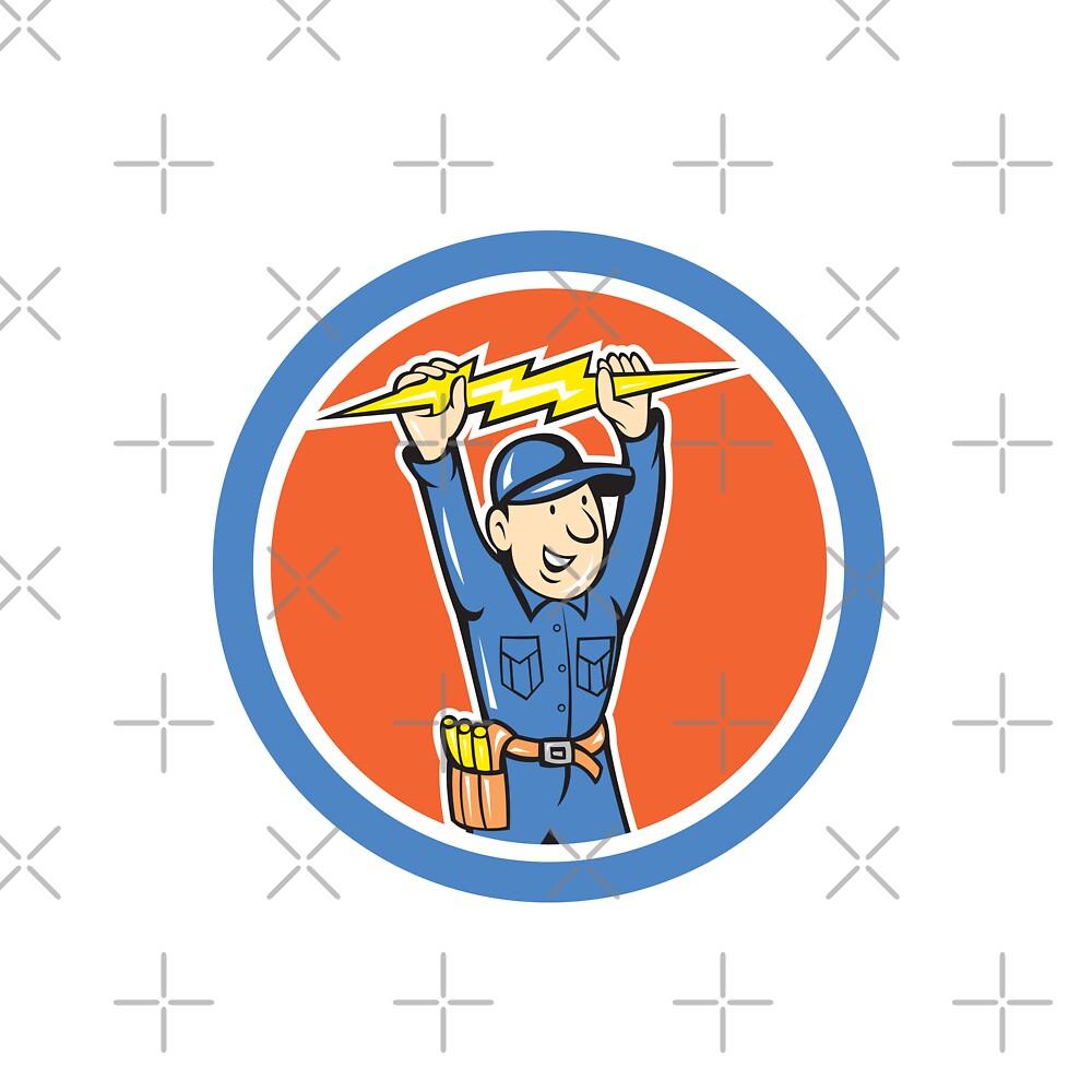 Thunderbolt Toolman Electrician Lightning Bolt Cartoon by patrimonio
