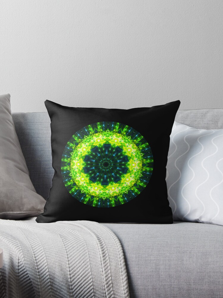 Green Space Kaleidoscope 04 Throw Pillow Circle Co-ord 03 by fantasytripp