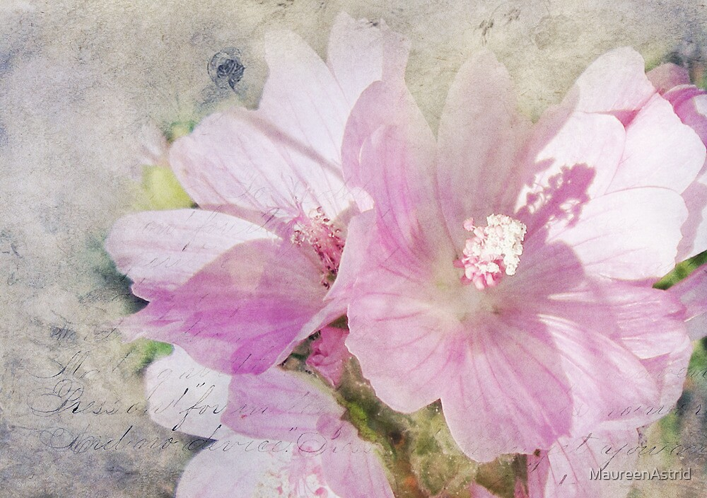 Hollyhock Collage Style by MaureenAstrid