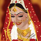 Digital Painting of Indian (Bengali) Bride by debopriyaa