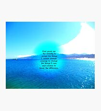 Serenity Prayer With Blue Ocean and Amazing Sky Photographic Print
