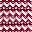 Chevron Hearts Metallic Ruby Red Pink Tourmaline Pattern by Beverly Claire Kaiya
