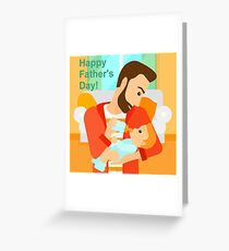 Father's Day - feeding baby  Greeting Card