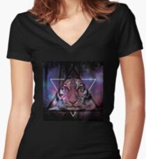 Wood Tiger Women's Fitted V-Neck T-Shirt