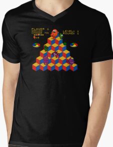 Q*Bert - Video Game, Gamer, Qbert, Orange, Black, Nerd, Geek, Geekery, Nerdy Mens V-Neck T-Shirt