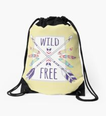 Wild and Free by Lets Be Boho Drawstring Bag