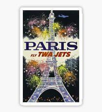 Paris Fly TWA Jets Vintage Travel Poster Sticker