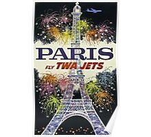 Paris Fly TWA Jets Vintage Travel Poster Poster