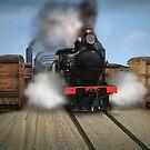 Rx Class Steam Train crossing the motor/railway bridge, Murray Bridge by Mark Richards