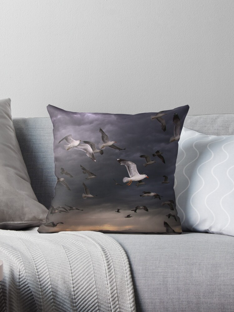 Seagull Storm Throw Pillow & Tote Bag by Gene Praag
