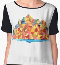 Colorful Geometric Watercolor Mountain Range Women's Chiffon Top