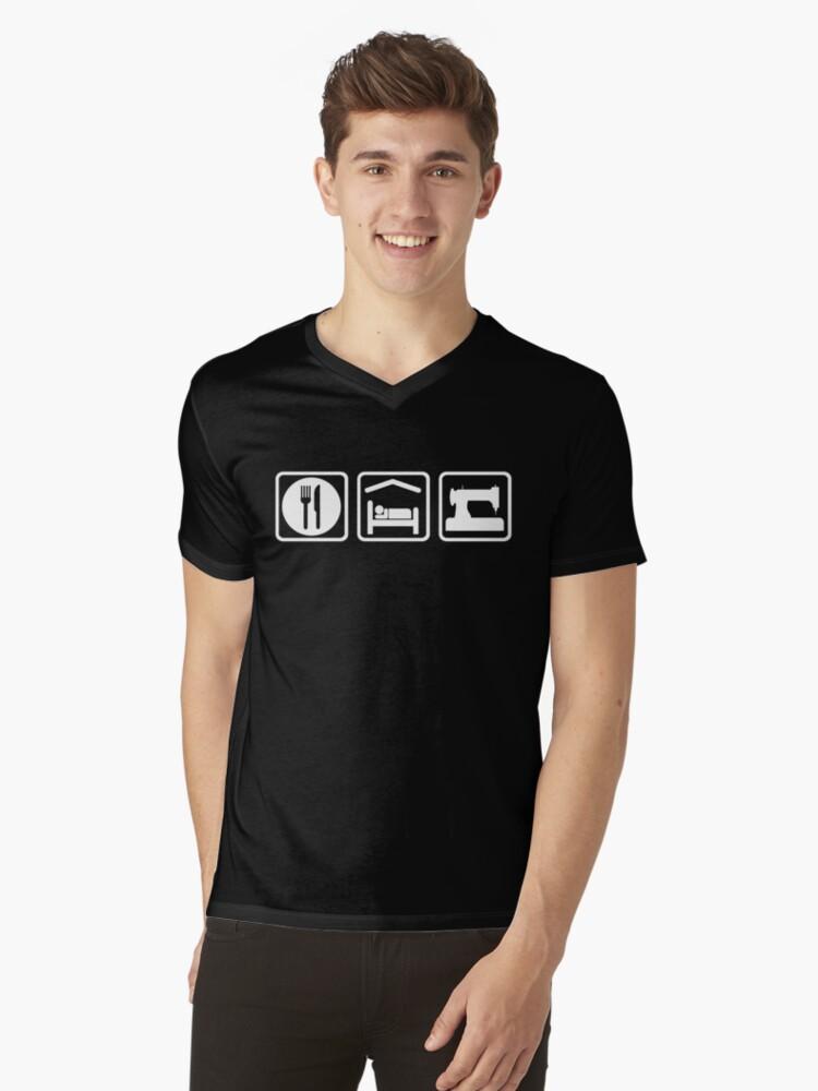 Eat Sleep Sewing Funny Shirt Mens V-Neck T-Shirt Front