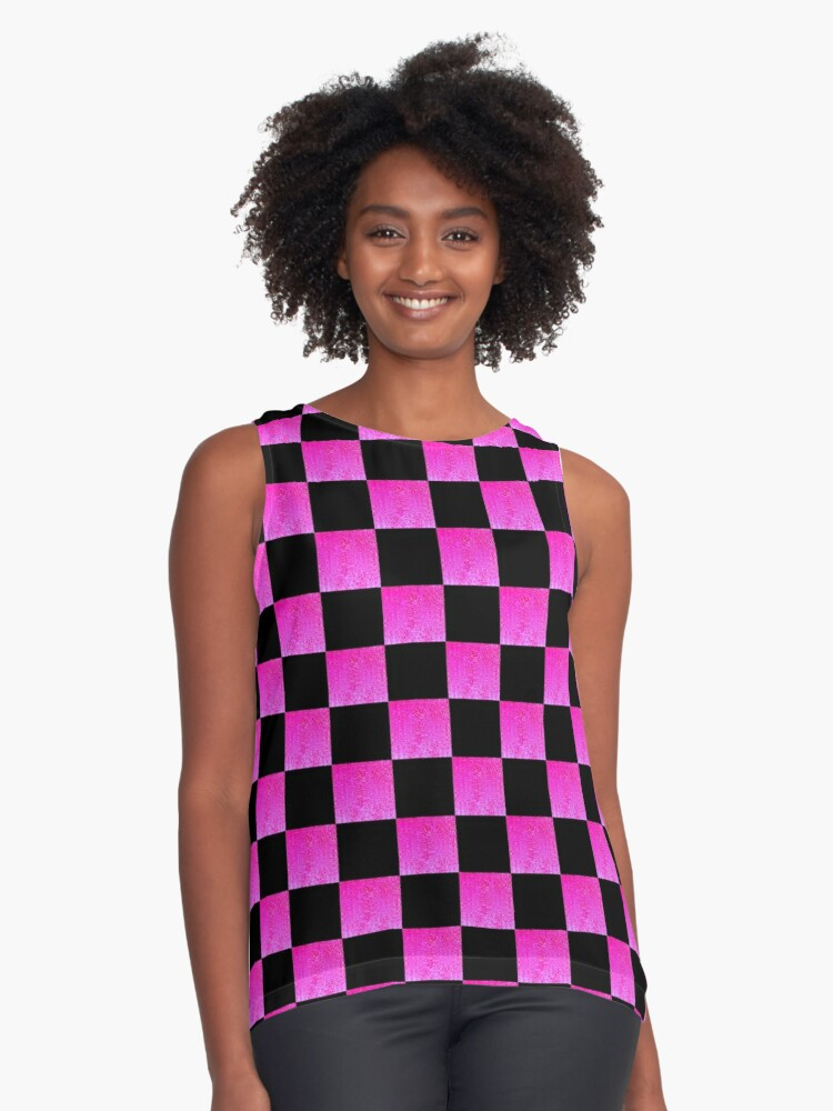 BRIGHT PINK AND BLACK CHECKERED PRINT Contrast Tank Front