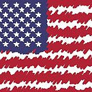 Abstract Scribble USA Flag Pattern  by CroDesign