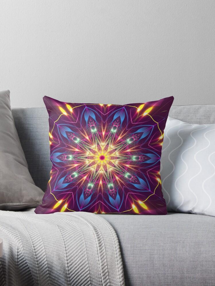 Purple Digital Light Kaleidoscope Throw Pillow by fantasytripp