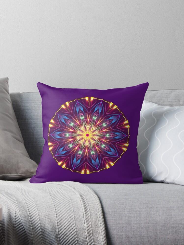 Purple Digital Light Kaleidoscope Throw Pillow 03 co-ord by fantasytripp