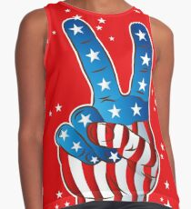 American Patriotic Victory Peace Hand Fingers Sign Contrast Tank