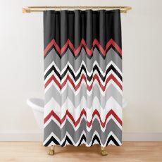 Chevron Red Grey Black White Zigzag Pattern Shower Curtain